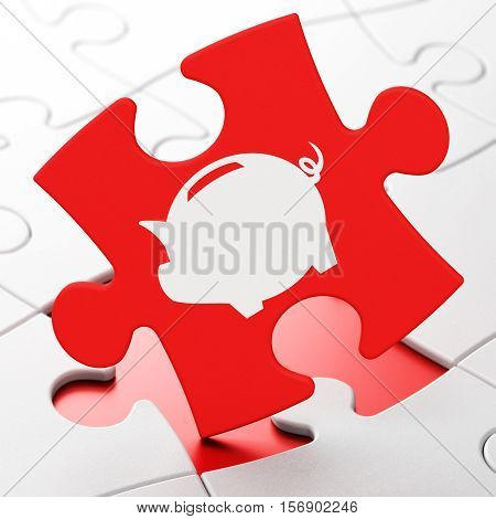 Currency concept: Money Box on Red puzzle pieces background, 3D rendering
