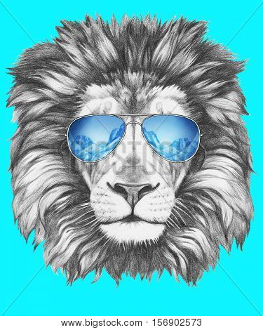 Portrait of Lion with mirror sunglasses. Hand drawn illustration.