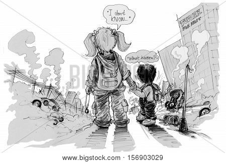 Cartoon survivors children looking result of conflict political. Sister and brother shocked and wondered the city is destroyed. Silhouette and foreground is rubble ruins poster