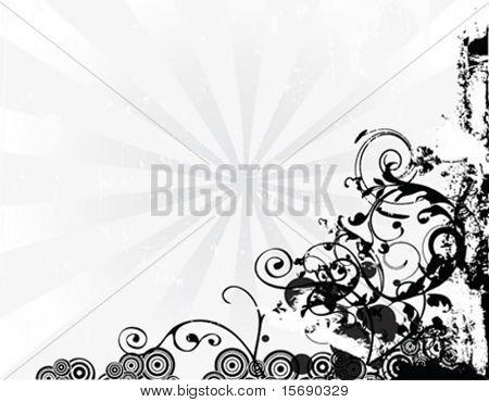 Vector illustration of a grunge corner on a grey burst background