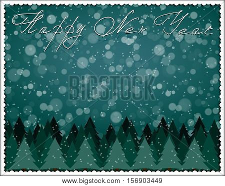 Happy new year. Greeting card. The landscape of spruce forest at twilight during a snowfall. Decorative white frame