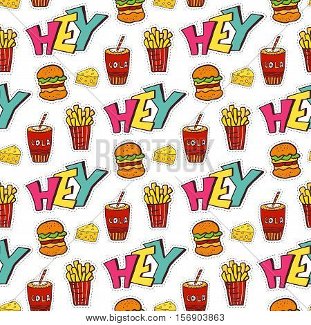 Fastfood seamless pattern. Bright cartoon background for menu decoration. Vector design.
