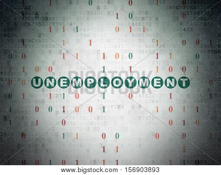 Business concept: Painted green text Unemployment on Digital Data Paper background with Binary Code