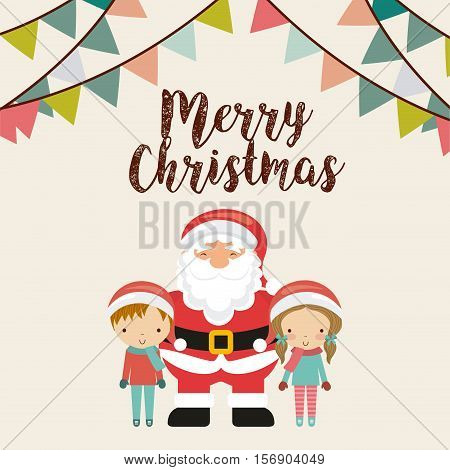 merry christmas card with cartoon santa claus with kids decoration icons. colorful design. vector illustration