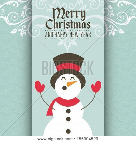merry christmas and happy new year card with snowman decorative icons. colorful design. vector illustration