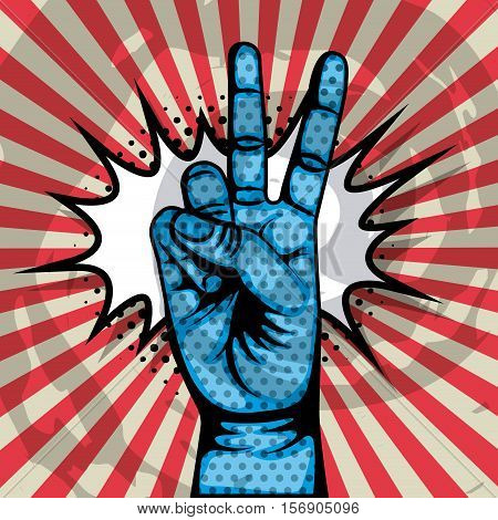 hand with a gesture icon. pop art and comic colorful design. vector illustration