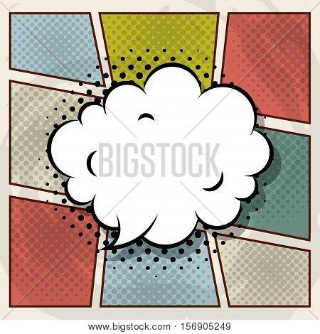 speech bubble in cloud shape over coloful pop art background. vector illustration