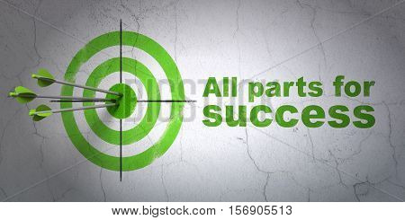 Success business concept: arrows hitting the center of target, Green All parts for Success on wall background, 3D rendering