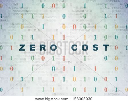 Finance concept: Painted blue text Zero cost on Digital Data Paper background with Binary Code