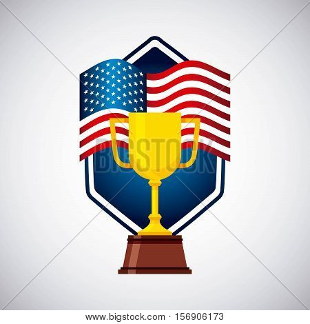 gold trophy of usa concept over white background. vector illustration