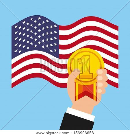 human hand holding a winner gold medal icon over usa flag and bluee background. vector illustration
