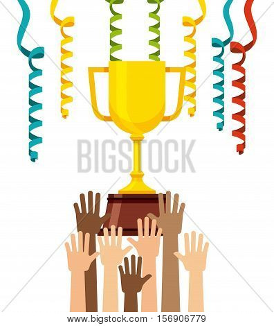human arms up and gold trophy with colorful serpentines decorations over white background. vector illustration