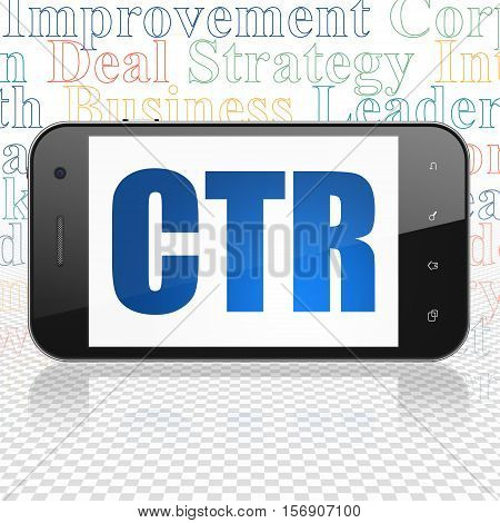 Finance concept: Smartphone with  blue text CTR on display,  Tag Cloud background, 3D rendering
