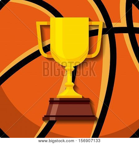 gold trophy icon over basketball ball background. sport competition. colorful design. vector illustration