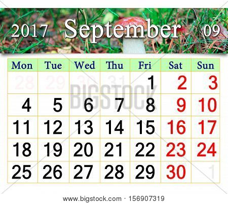 calendar for September 2017 with the image of small mushroom cep