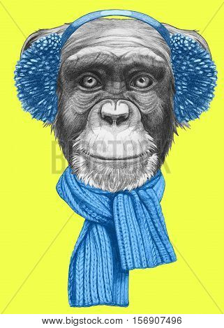 Portrait of Monkey with scarf and earmuffs. Hand drawn illustration.