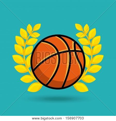 gold wreath of leaves with basketball ball icon over blue background. vector illustration