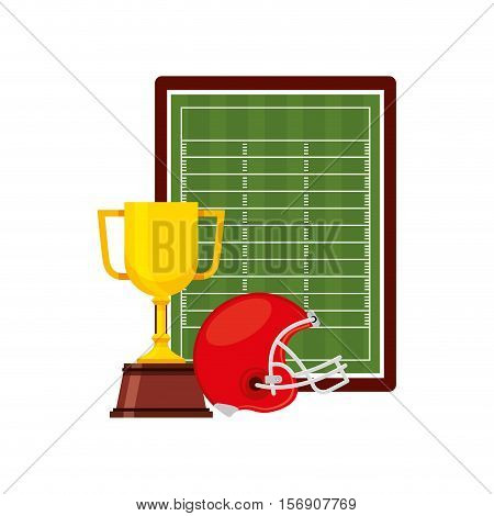 american football trophy cup with red helmet and green field decorative elements over white background. sport competition. vector illustration