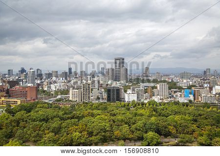 OSAKA, JAPAN - OCTOBER 9, 2016: Panoramic view at Osaka Japan. Osaka is known for its modern architecture nightlife and hearty street food
