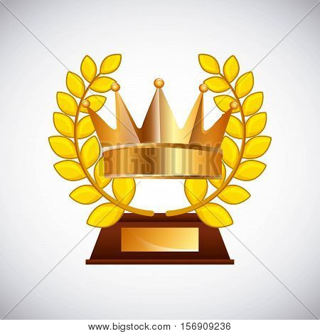 gold trophy in crown shape icon over white background. vector illustration