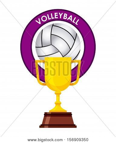 gold trophy with volleyball concept design over white background. vector illustration