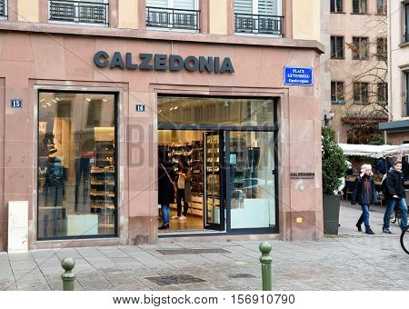 STRASBOURG FRANCE - NOV 8 2016: Calzedonia Fashion store in central city market. Calzedonia is an Italian fashion brand founded in Verona in 1987 and with over 1750 shops worldwide as of 2016.
