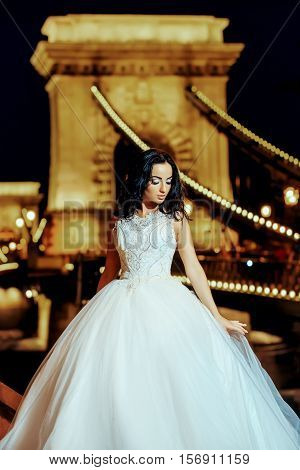 Young bride woman brunette with pretty face in splendid fashion wedding white dress posing on beautiful stone bridge background at night outdoor