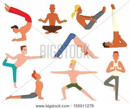 Fitness group yoga man doing cobra pose in row at the yoga class. Lifestyle male body yoga man vector character. Meditation health young fit yoga man relaxation workout adult training gym sport.