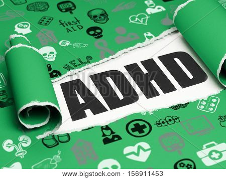 Healthcare concept: black text ADHD under the curled piece of Green torn paper with  Hand Drawn Medicine Icons, 3D rendering