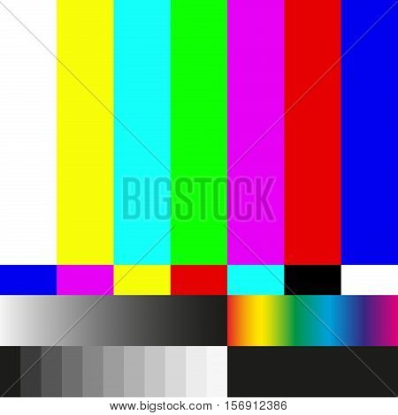 Test tv screen background and television error. Vector illustration