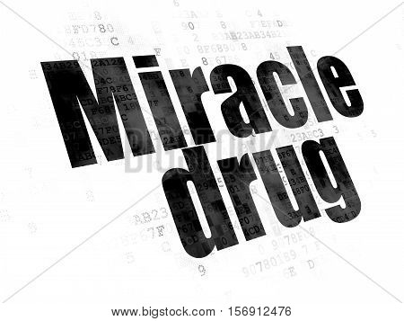 Healthcare concept: Pixelated black text Miracle Drug on Digital background