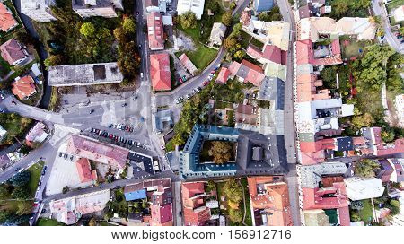 Aerial view of historical town of slovak town of Banska Bystrica. Streets of old town.