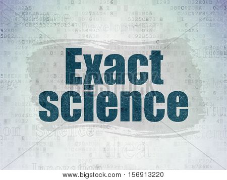 Science concept: Painted blue text Exact Science on Digital Data Paper background with   Tag Cloud