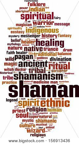 Shamanism word cloud concept. Vector illustration on white