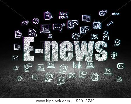 News concept: Glowing text E-news,  Hand Drawn News Icons in grunge dark room with Dirty Floor, black background