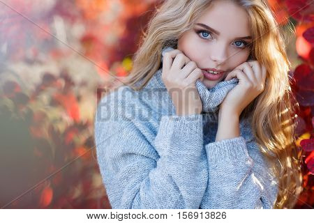 Autumn portrait of beautiful young woman with long blonde hair and blue eyes,dressed in gray-blue knitted sweater,light makeup,spends time alone outdoors in the Park,posing for photographer autumn among the trees and bushes with yellow and red leaves