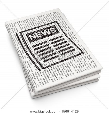 News concept: Pixelated black Newspaper icon on Newspaper background, 3D rendering