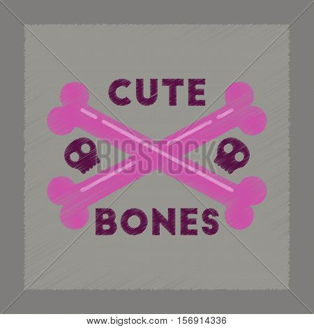 flat shading style icon of cross bones