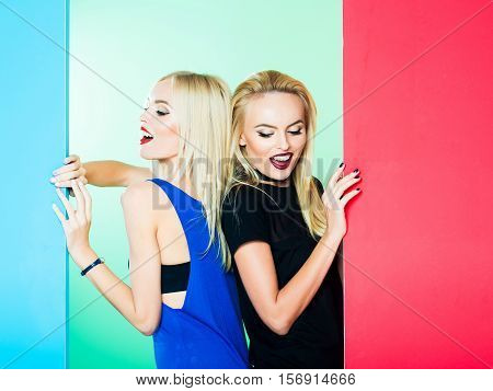 Pretty Girls In Colorful Studio