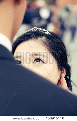 Pretty Bride Smiles To Groom