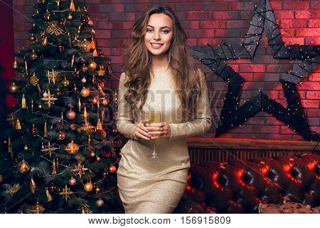 This Glass Of Champagne, I Drink To You! I Wish You To Merry Christmas! Beautiful Girl With A Glass
