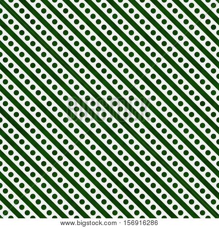 Hunter Green and White Small Polka Dots and Stripes Pattern Repeat Background that is seamless and repeats