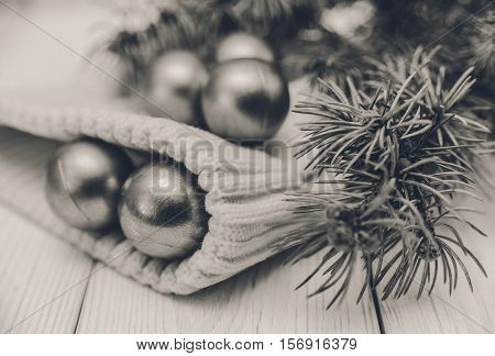 Winter composition with fir branches and balls on the white knitted hat.Black and whitetoned