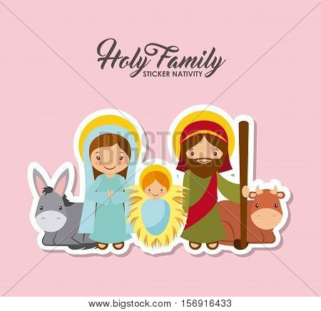 holy family characters. virgin mary with saint joseph and baby jesus. stickers nativity design. vector illustration