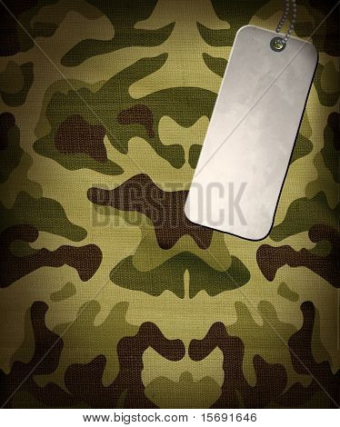 Army camouflage background with a dog tag for copy