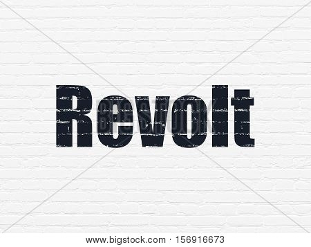 Political concept: Painted black text Revolt on White Brick wall background
