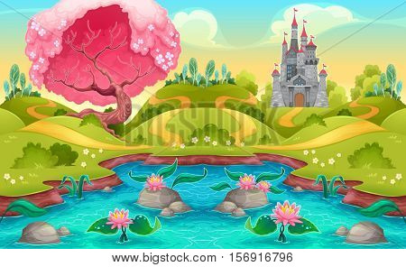 Fantasy landscape with castle in the countryside. Vector cartoon illustration