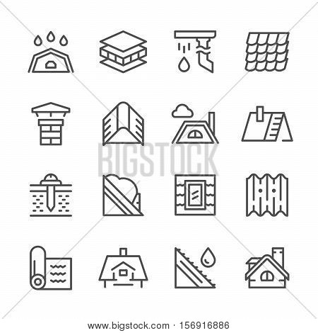 Set line icons of roof isolated on white. Vector illustration
