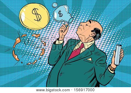 Businessman financier money inflates bubbles, pop art retro vector illustration