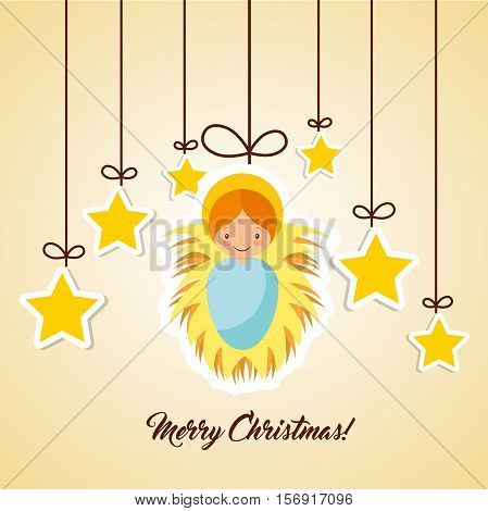 cartoon cute baby jesus with decorative yellow stars hanging. colorful design. vector illustration